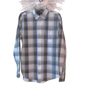 John Bartlett White Plaid Button Down Casual Shirt